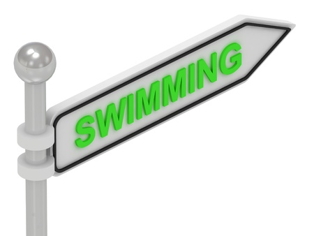 profundity: SWIMMING arrow sign with letters on isolated white background Stock Photo