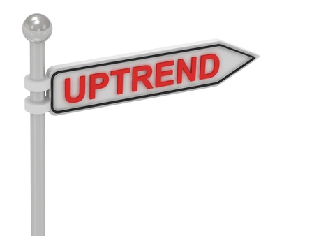 uptrend: UPTREND arrow sign with letters on isolated white background