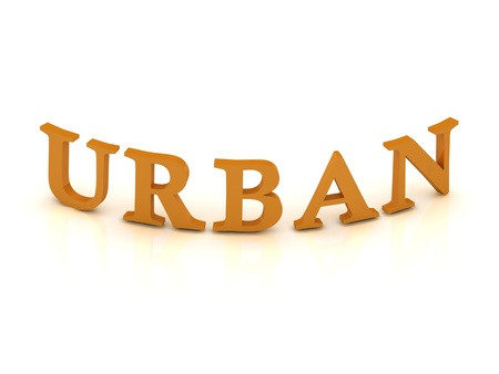 URBAN sign with orange letters on isolated white background photo