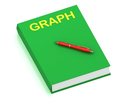 GRAPH inscription on cover book and red pen on the book. 3D illustration isolated on white background illustration