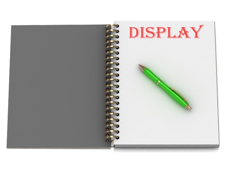 DISPLAY inscription on notebook page and the green handle. 3D illustration isolated on white background illustration