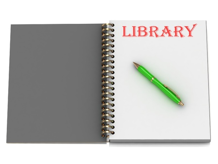 LIBRARY inscription on notebook page and the green handle. 3D illustration isolated on white background illustration