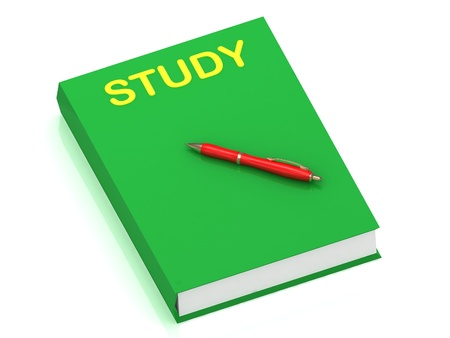STUDY inscription on cover book and red pen on the book. 3D illustration isolated on white background illustration