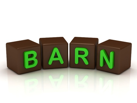 BARN inscription bright green letters on the cubes of chocolate isolated on white background photo