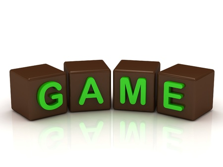 GAME inscription bright green letters on the cubes of chocolate isolated on white background