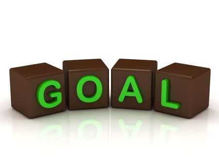 GOAL inscription bright green letters on the cubes of chocolate isolated on white background photo