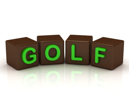 GOLF inscription bright green letters on the cubes of chocolate isolated on white background photo