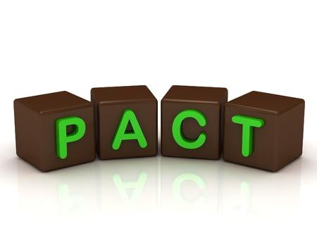 pacto: PACT inscripci�n brillantes letras verdes en los cubos de chocolate aisladas sobre fondo blanco