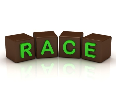 RACE inscription bright green letters on the cubes of chocolate isolated on white background photo
