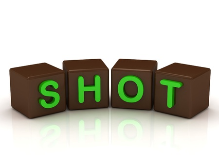 SHOT inscription bright green letters on the cubes of chocolate isolated on white background photo