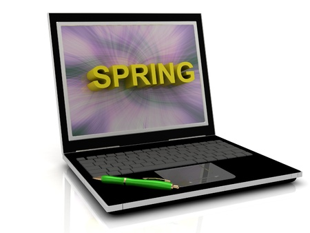 spring message: SPRING message on laptop screen in big letters. 3D illustration isolated on white background