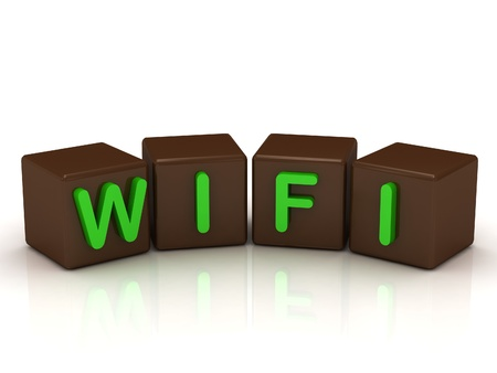 WIFI inscription bright green letters on the cubes of chocolate isolated on white background Stock Photo - 14687421