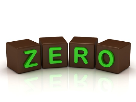 null: ZERO inscription bright green letters on the cubes of chocolate isolated on white background