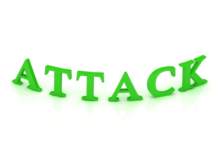 ATTACK sign with green word on isolated white background Stock Photo - 15188710