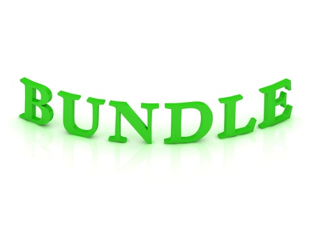 BUNDLE sign with green word on isolated white background photo