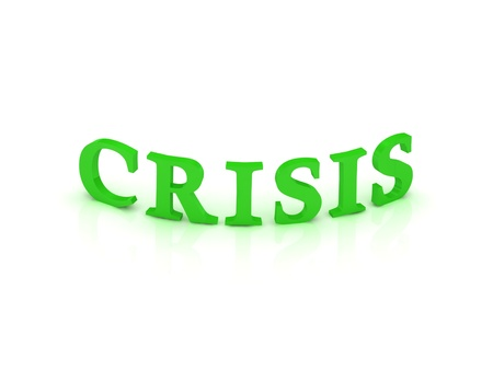 CRISIS sign with green word on isolated white background photo