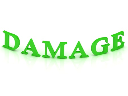DAMAGE sign with green word on isolated white background photo