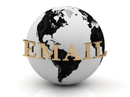 EMAIL abstraction inscription around earth of gold letters on a white background photo