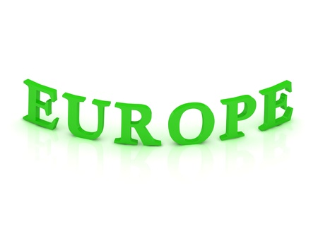 EUROPE sign with green word on isolated white background photo