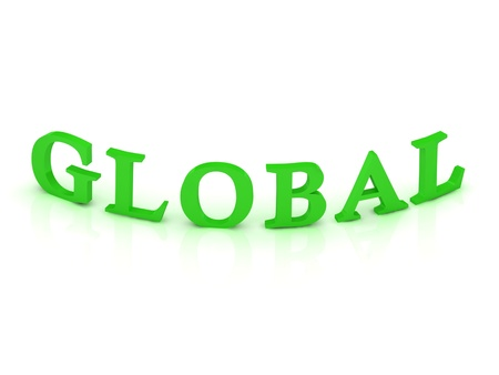 GLOBAL sign with green word on isolated white background Stock Photo - 15188719