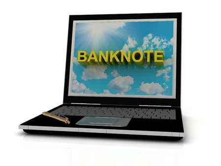 BANKNOTE sign on laptop screen of the yellow letters on a background of sky, sun and clouds photo