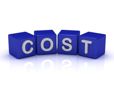 COST word on blue cubes on an isolated white background