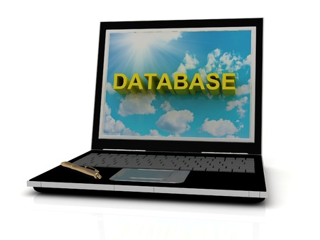 DATABASE sign on laptop screen of the yellow letters on a background of sky, sun and clouds photo