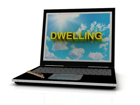 DWELLING sign on laptop screen of the yellow letters on a background of sky, sun and clouds photo