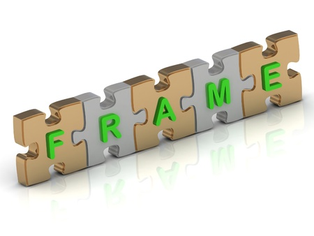 FRAME word of gold puzzle and silver puzzle on a white background photo