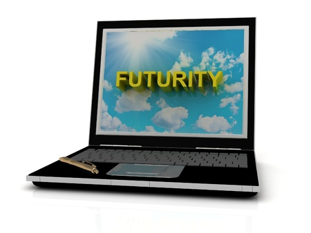 futurity: FUTURITY sign on laptop screen of the yellow letters on a background of sky, sun and clouds