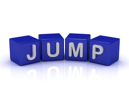 JUMP parola su cubi blu su uno sfondo bianco isolato