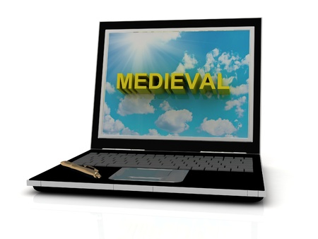 MEDIEVAL sign on laptop screen of the yellow letters on a background of sky, sun and clouds photo