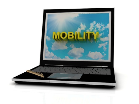 MOBILITY sign on laptop screen of the yellow letters on a background of sky, sun and clouds Stock Photo - 14860819