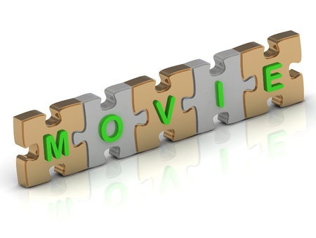 MOVIE word of gold puzzle and silver puzzle on a white background photo