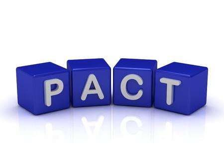 pacto: PACT palabra en los cubos azules sobre un fondo blanco aislado