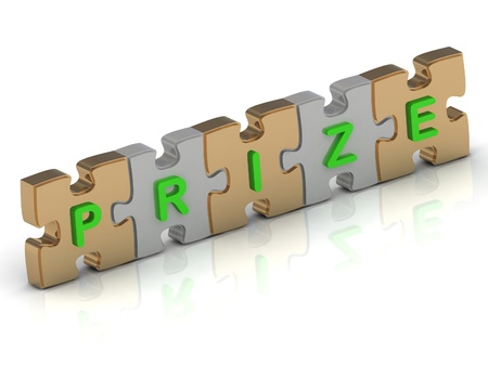 PRIZE word of gold puzzle and silver puzzle on a white background photo