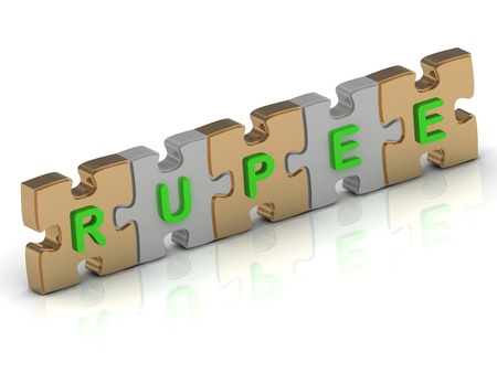 RUPEE word of gold puzzle and silver puzzle on a white background photo