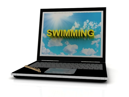 profundity: SWIMMING sign on laptop screen of the yellow letters on a background of sky, sun and clouds