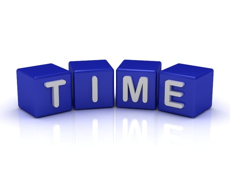 duration: TIME word on blue cubes on an isolated white background