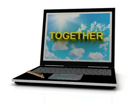 TOGETHER sign on laptop screen of the yellow letters on a background of sky, sun and clouds photo