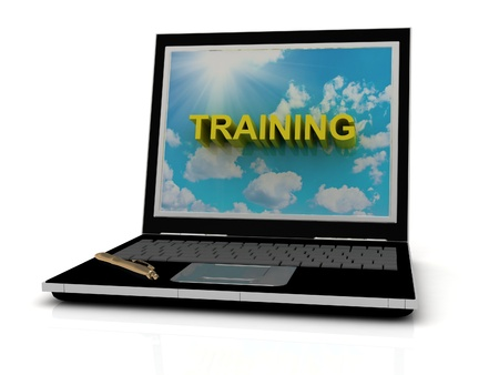 computer training: TRAINING sign on laptop screen of the yellow letters on a background of sky, sun and clouds Stock Photo