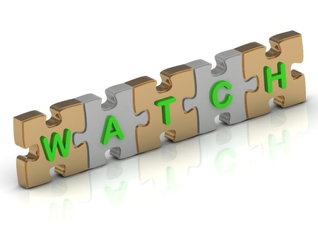 WATCH word of gold puzzle and silver puzzle on a white background photo