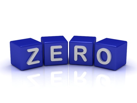 null: ZERO word on blue cubes on an isolated white background