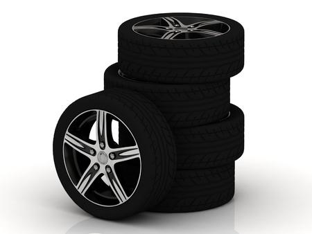 Set of car wheels isolated on white background Stock Photo - 14875103