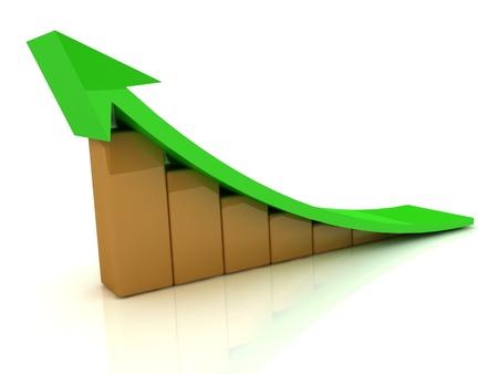 Grafico 3D la crescita delle barre arancioni con una freccia verde ampio
