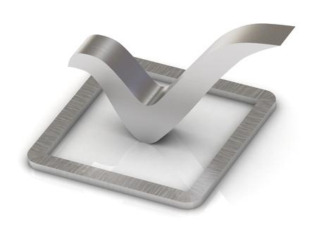 Check mark of steel 3d illustration over white background  Stock Illustration - 15302642