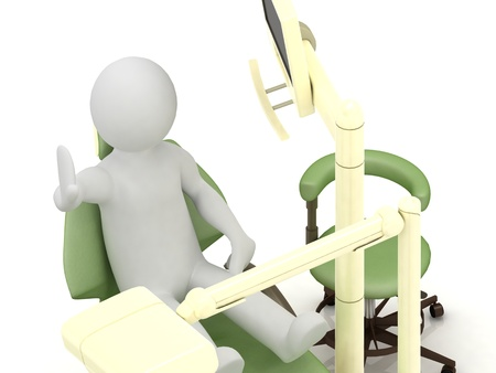 in the dental office 3d man do not want to treat the teeth. Illustration on white background illustration