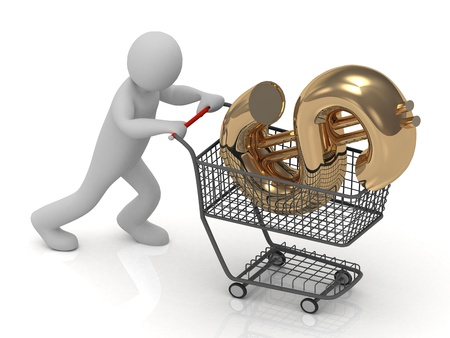 3D small man rolls in a trolley cart big gold dollar isolated on a white background photo