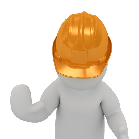 3D man in an orange construction helmet prevents move on and stop all hand raised  Abstract illustration isolated on white background illustration