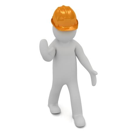 head protection: 3D man in an orange construction helmet stops traffic